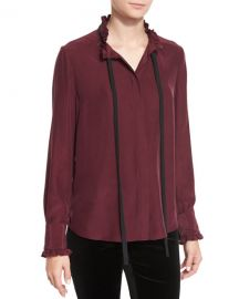 Ruffle Neck Long-Sleeve Blouse by Frame at Neiman Marcus
