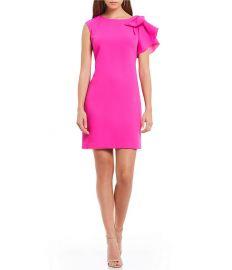 Ruffle Shoulder Shift Dress Eliza J at Dillards