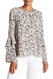 Ruffle Sleeve Keyhole Popover Blouse at Nordstrom Rack