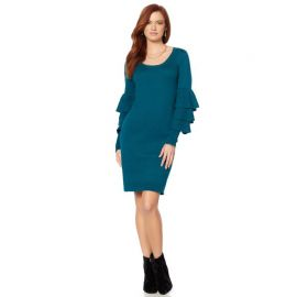 Ruffle-Sleeve Scoop-Neck Dress by Wendy Williams HSN Collection at HSN