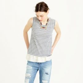Ruffle hem tank top in stripe at J. Crew