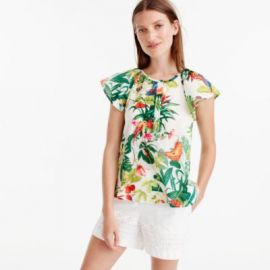 Ruffle-sleeve top in Ratti reg  Into the Wild print at J. Crew