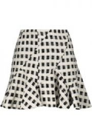 Ruffled checked cotton-blend boucl  -tweed mini skirt at The Outnet