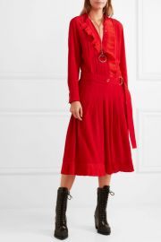Ruffled silk crepe de chine midi dress at Net A Porter