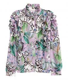 Ruffled Blouse in Purple Tigers at H&M