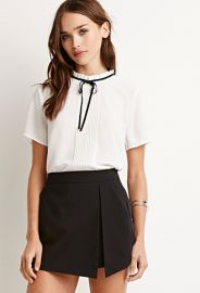 Ruffled-Neck Pintuck Blouse  Forever 21 - 2000183644 at Forever 21