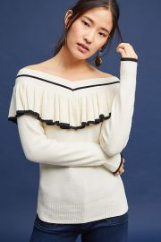 Ruffled Off-The-Shoulder Pullover by Anthropologie at Anthropologie