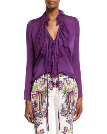 Ruffled Self-Tie Silk Blouse by Roberto Cavalli at Neiman Marcus