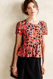 Ruffled Silk Tee at Anthropologie