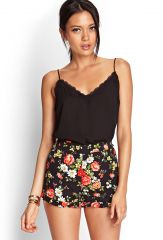 Ruffled floral shorts at Forever 21