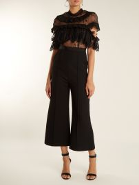 Ruffled-lace wide-leg cady jumpsuit at Matches