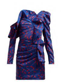 Ruffled off-the-shoulder satin mini dress at Matches
