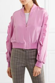 Ruffled silk crepe de chine bomber jacket at Net A Porter