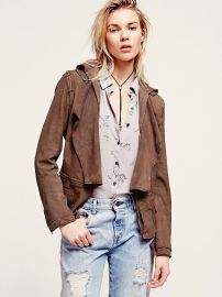 Ruffled suede jacket at Free People