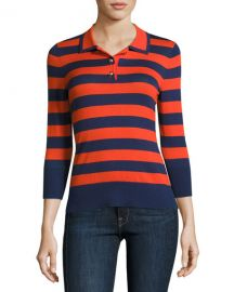 Rugby-Stripe Polo Sweater at Neiman Marcus