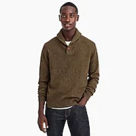 Rugged Merino Wool Blend Shawl Collar Pullover Sweater at J. Crew