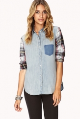 Rustic Chambray Shirt  LOVE21 - 2059043528 at Forever 21