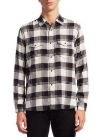 SAINT LAURENT - Flannel Cotton Casual Button-Down Shirt at Saks Fifth Avenue
