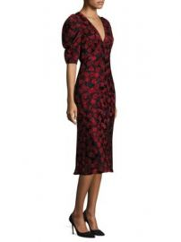 SALONI - Colette Floral Silk Midi Dress at Saks Fifth Avenue