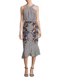 SALONI - Ruby Silk Blouson Midi Dress at Saks Fifth Avenue