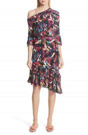 SALONI Lexie Floral Print Silk Off the Shoulder Dress at Nordstrom