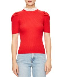 SANDRO SPHYNX RUFFLED COLLAR RIBBED SHORT-SLEEVE SWEATER at Bloomingdales