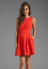 SHOSHANNA Double Crepe Allie Dress in Modern Red at Revolve