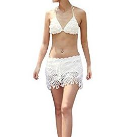 SJINC Women s Beach Cover Ups Crochet Fringe Hem See Through Swimwear Mini Skirt at Amazon