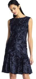 SLEEVELESS EMBROIDERED SEQUIN FLORAL DRESS WITH DROP WAIST at Adrianna Papell