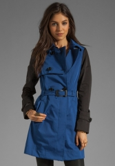 SOIA and KYO Adelle Trench Jacket in Blue at Revolve