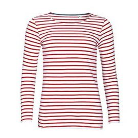 SOLS Womens Ladies Marine Long Sleeve Stripe T-Shirt at Amazon