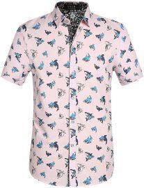 SSLR Men s Shark Prints Casual Button Down Short Sleeve Shirts at Amazon