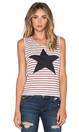 SUNDRY Striped Star Muscle Tank in White and Burgundy at Revolve