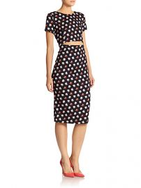 SUNO - Rose-Print Stretch Silk Cutout-Waist Dress at Saks Fifth Avenue