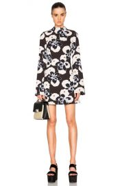 SUNO Mock Neck Dress in Floral Brown   FWRD at SSENSE