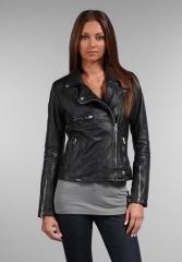 SWORD Novara Moto Leather Jacket in Black at Revolve