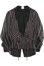 Sacai   Open-back cotton piqu  -paneled striped twill and silk-organza shirt at Net A Porter