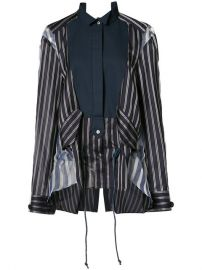 Sacai Sheer Panel Bib Stripe Shirt at Farfetch