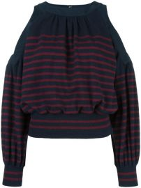 Sacai Striped Cold Shoulder Top at Farfetch