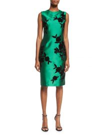 Sachin   Babi Noir Sleeveless Embroidered Cocktail Dress  Emerald at Neiman Marcus