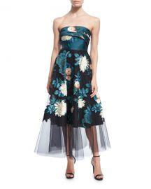 Sachin  amp  Babi Baroda Strapless Floral-Print Tulle Gown   Neiman at Neiman Marcus