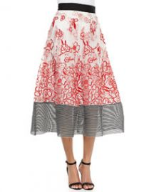 Sachin and Babi Noir Embroidered Floral Midi Ball Skirt at Neiman Marcus