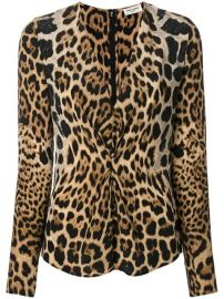 Saint Laurent Leopard Print Gathered Blouse - Farfetch at Farfetch