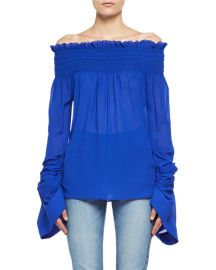 Saint Laurent Silk Georgette Off-the-Shoulder Top   Neiman Marcus at Neiman Marcus
