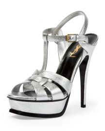Saint Laurent Tribute Metallic Leather Platform Sandal   Neiman Marcus at Neiman Marcus