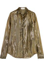 Saint Laurent   Metallic silk-blend lam   shirt at Net A Porter