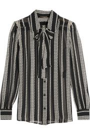 Saint Laurent   Pussy-bow printed silk-georgette shirt at Net A Porter