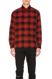Saint Laurent Double Front Patch Pocket Plaid Shirt at Forward