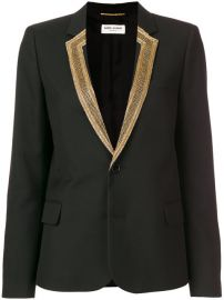 Saint Laurent Embroidered-lapel Blazer at Farfetch