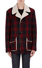 Saint Laurent Faux-Shearling-Lined Plaid Coat at Barneys Warehouse